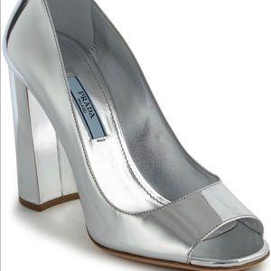 PRADA Metallic Silver Peep Toe Pumps
